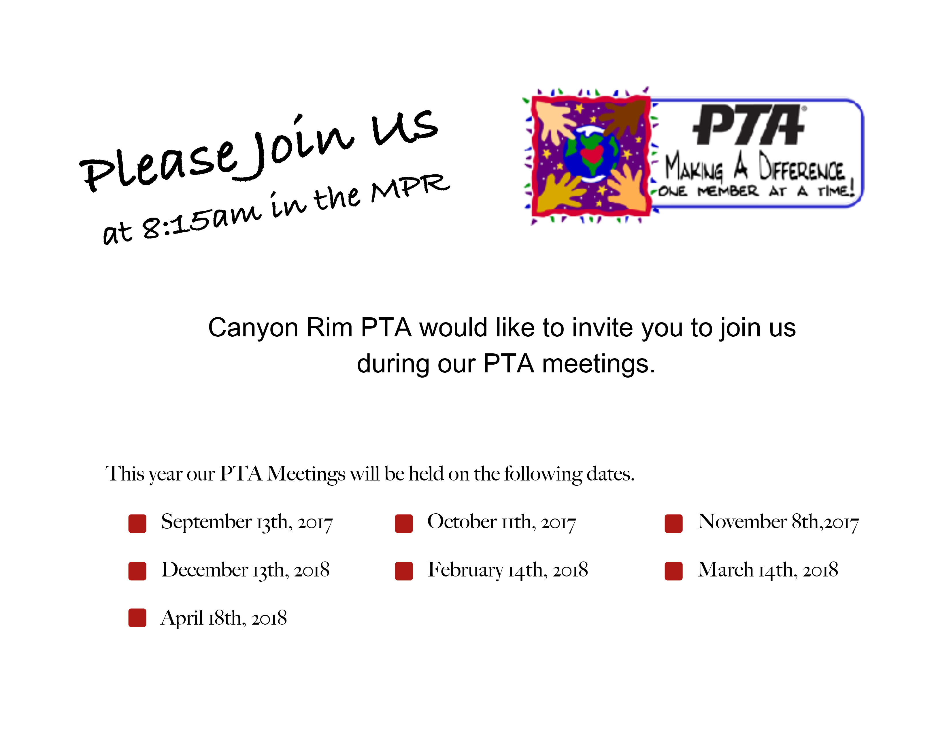 canyon rim pta meeting schedule canyon rim elementary pta